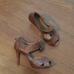 Talbots Brown Leather Open Toe Heels